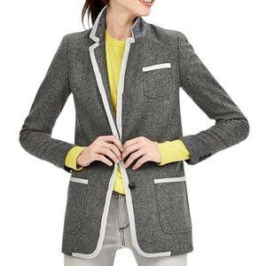 Banana Republic Gray Wool Piped Hacking Blazer